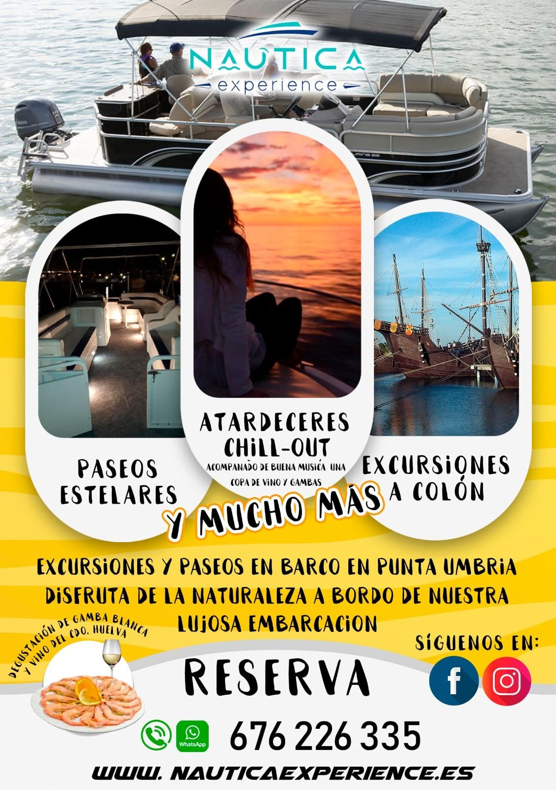 cartel de experiencias en barco