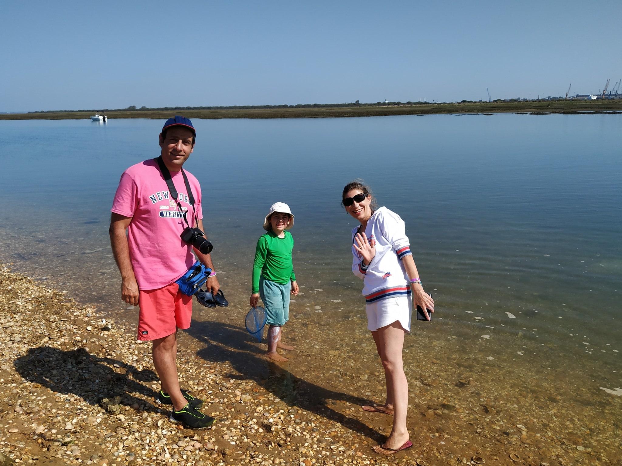 familia en la isla